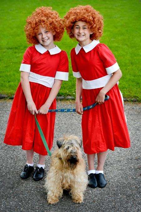 Starlight's two Annies, Tyra McLoughlin (left) and Erin Moran with Jazz the dog as Sandy. Picture: Gair Fraser