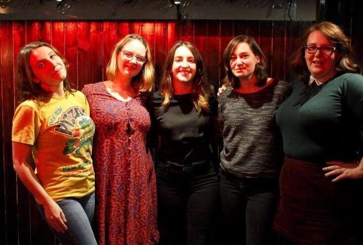 Braw Bricht Comedy - from left - guest comedian Emma Johnston, Braw Bricht's Annie Gilfillan, Hazel Urquhart, Jenny Johnstone and guest comedian Jacqueline Barclay.