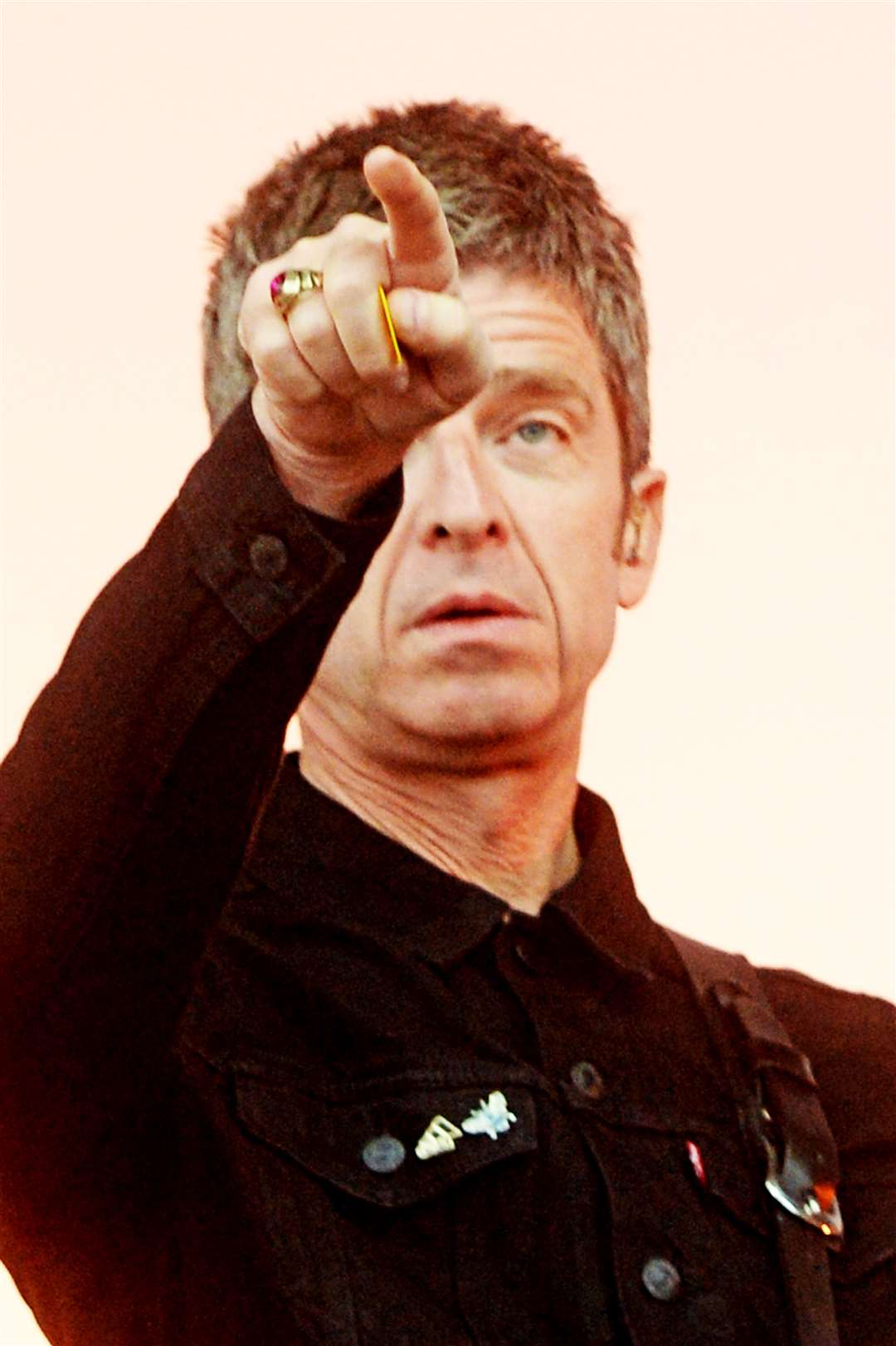 Noel Gallagher reaches out to the Inverness crowd. Picture: Gair Fraser