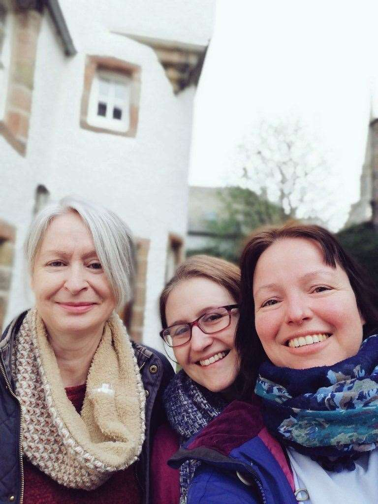 Barbara with NessBookFest's Pauline and Katey Boal of the National Trust for Scotland at Abertarff House in Inverness, one of the new venues for the city festival.